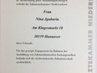 Auszeichnung der Zahnarztpraxis Jguburia in Hannover Mitte durch die ZKN