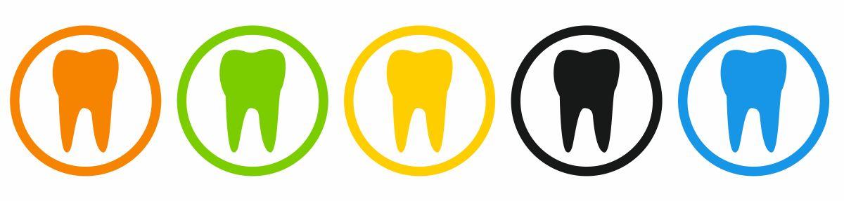 Symbole von Zähnen in verschiedenen Farben